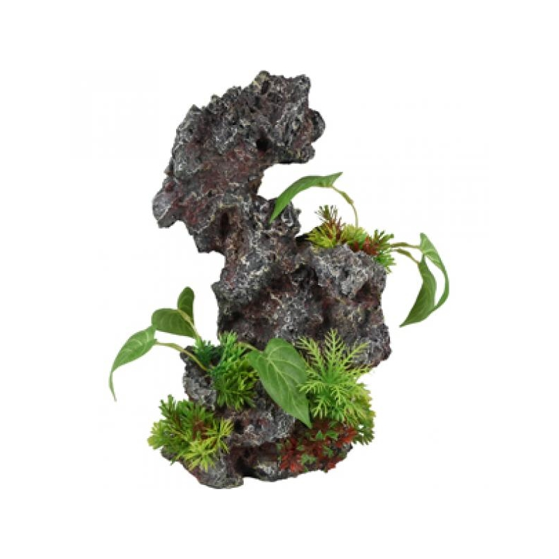 Akvaariumi dekoratsioon kivi taimega 19x15x31cm