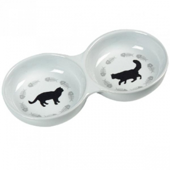 Keraamiline sööginõu kassile 2in1 CATS valge