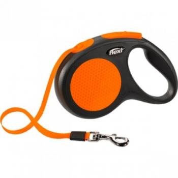 Flexi jalutusrihm New Neon lint black/orange 5m 25kg
