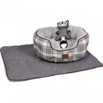 Koera pesa OCTAGONAL MUSA + koera tekk + mänguasi SKUNK hall  63x51x25cm