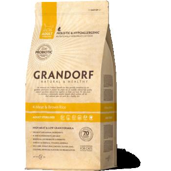 Grandorf Cat 4 Liha ja Pruun Riis Steriliseeritud kassidele 2kg