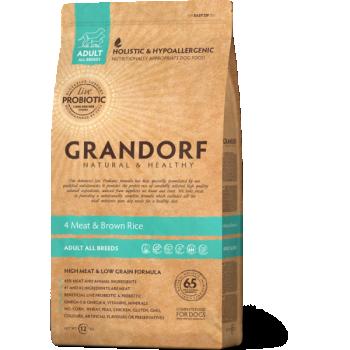 Grandorf 4 liha ja Pruuni Riisiga Täiskasvanud koertele 3kg
