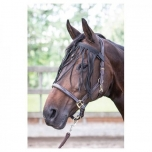 Flybrowband with fringes black PONY