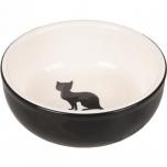 Keraamiline sööginõu kassile NALA must-valge 310ml 13CM