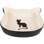 Keraamiline kassipea kujuline sööginõu kassile NALA must-valge 220ml 12,5CM